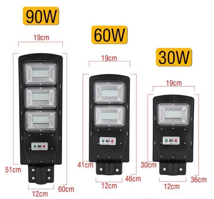 Luz de calle LED 30/60 / 90W LED Luz solar Radar PIR Motion Sensor Lámpara de tiempo de la pared + impermeable remoto para la Plaza Garden Yard