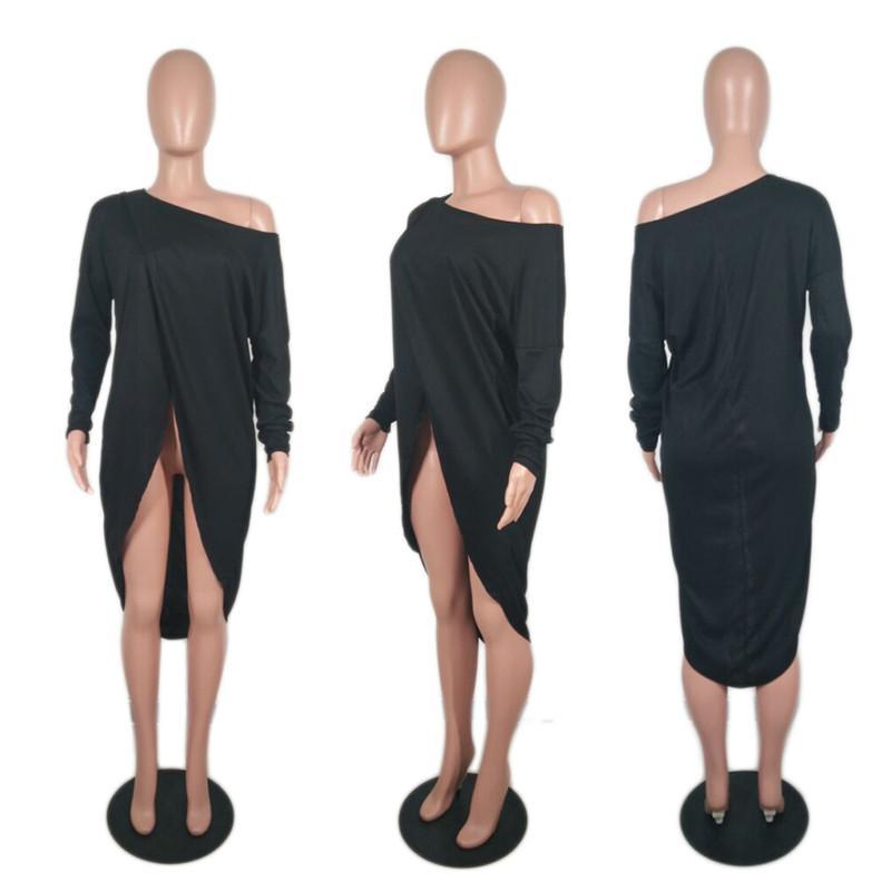 Doyerl Rahat Gevşek Bluz Kadınlar için Tops Sonbahar Skew Yaka Uzun Kollu Düzensiz Hem Kapalı Omuz Örme Tunik Gömlek Blusas