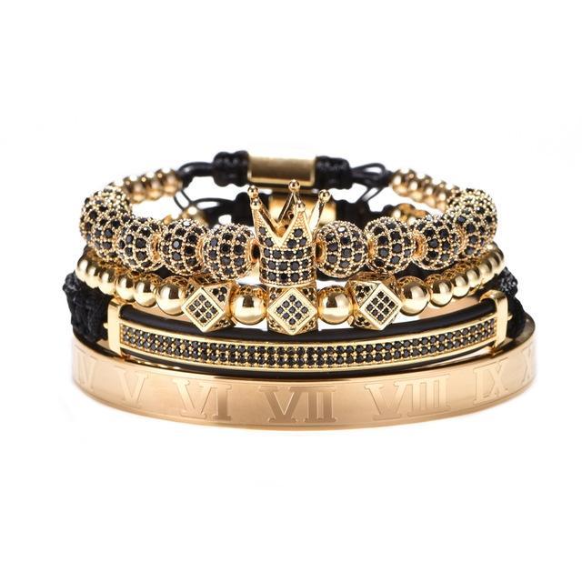 Hot Luxury Gold Braided Adjustable Bracelet Men Male Beads Crown Black Cz Zircon Charm Stainless Steel Bracelet Men Jewelry