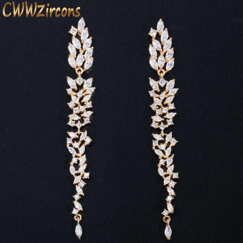 Cwwzircons Requintado casamento design folha linha de orelha longa dangle brinco brinco jóias cúbico zirconia brincos para mulheres bijoux cz578 210611