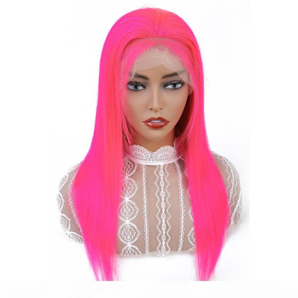 13x4 розовый кружевной фронт парик Remy человеческие волосы VSHOW 150 плотность человеческих волос парики бразильский прямой кружевной фронт для чернокожих женщин
