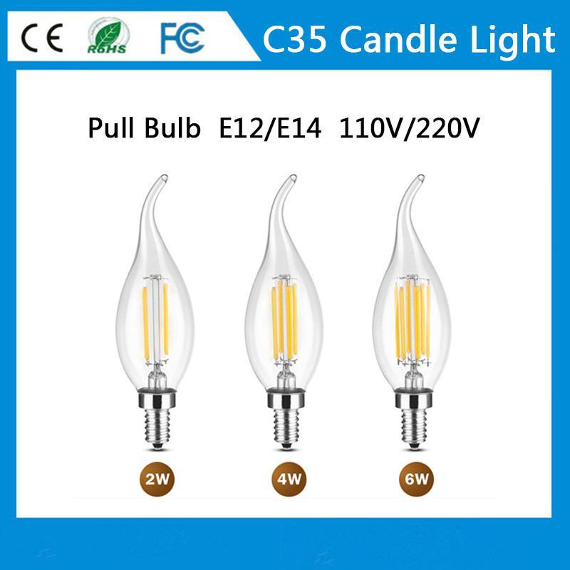 LED-Lampenfilamentlampe Kerzenlichter 2 4 6W C35 Serie E12 E14 AC85 ~ 265V Nein Dimmable Kristall Beleuchtung Birne Klarglas für Kronleuchter Anhänger Boden Licht
