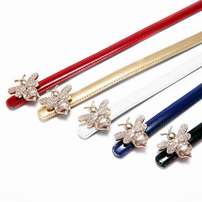 Дизайнерская мода Rhinestone Bee Пряжка пояса Женщины Натуральные Кожаные Платья Ремни Тонкая Стиль Роскошный Декоративный пояс 100 * 1.4см