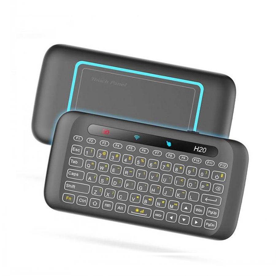 H20 Mini Universal Wireless Tastiera Wireless Retroilluminazione Touchpad Air Mouse IR Controllo remoto Pendente per AndoRid Box Smart TV Windows