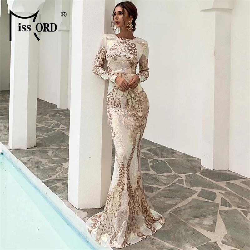 Missord 2021 Kadınlar Seksi O Boyun Uzun Kollu Backless Pullu Elbiseler Kadın Bodycon Maxi Elbise Çok Akşam Parti Elbise FT19747-1 210303