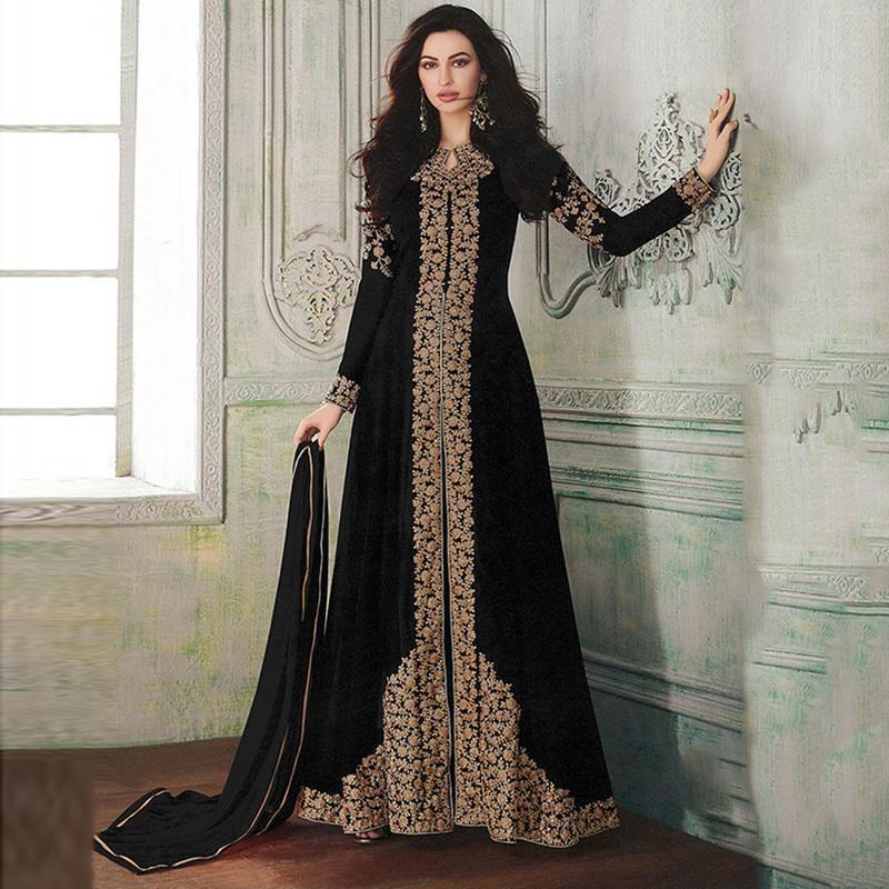 Giyim Hindistan Pakistan Kadın Uzun Etekler Müslüman Baskı Noble ve Başörtüsü Arap Kimono İslam Lüks EVB9 dahil