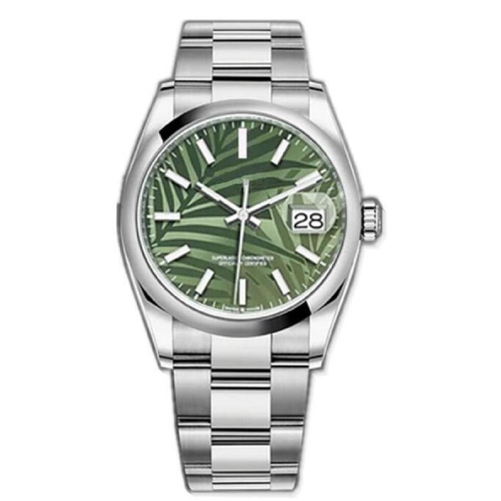 Последние версии Watches Gread Bezel DateJust Зеленый циферблат Сталь Mens 36 мм Sapphire Watch Автоматическая Механическая нержавеющая устриц Вечной бирюзовый 124300