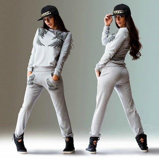 2020 Maglione da donna Nuova stampa per il tempo libero Modello ala Sport Sport Abito da 2 pezzi