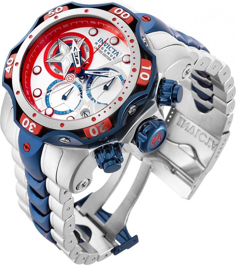 Invicta Watch Marvel Captain America Men Model 27039 - ساعة رجالية كوارتز 52.5mm الفولاذ المقاوم للصدأ ساعات الكوارتز السويسرية