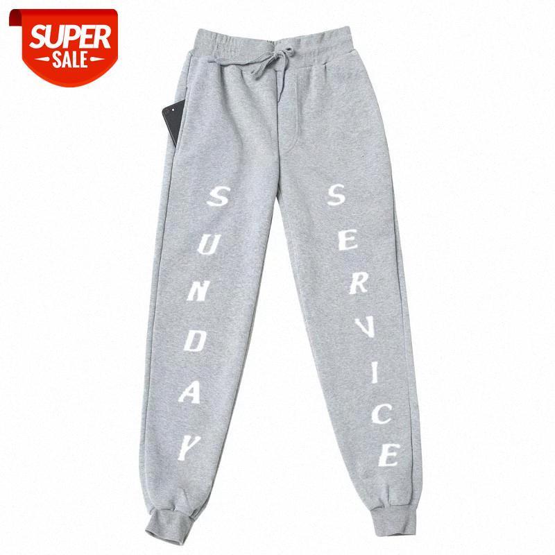 Kanye West Sunday Service Fleece Ffuls Bondpants Men Streetwear JontString Joggers Plous Brays Sunday Service Брюки штаны # 4B4V