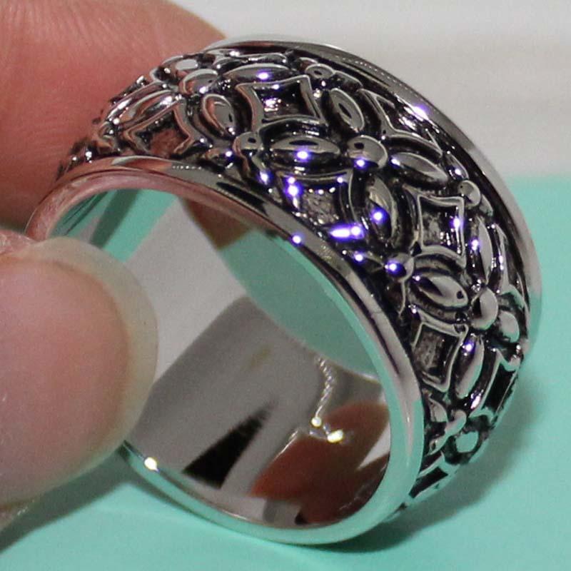 Size 9/10/11 Mens Handmade titanium steel Stainless steel Big Band Eternity Ring for Men