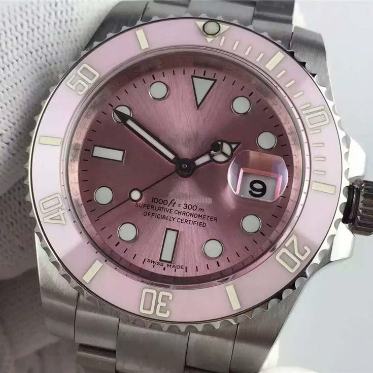 YZ Фабрика Дата Розовый керамический Стена Наборы Наручные Часы Сапфировая сталь 40 мм 116610LN 116610 Автоматическая механическая скользящая замка
