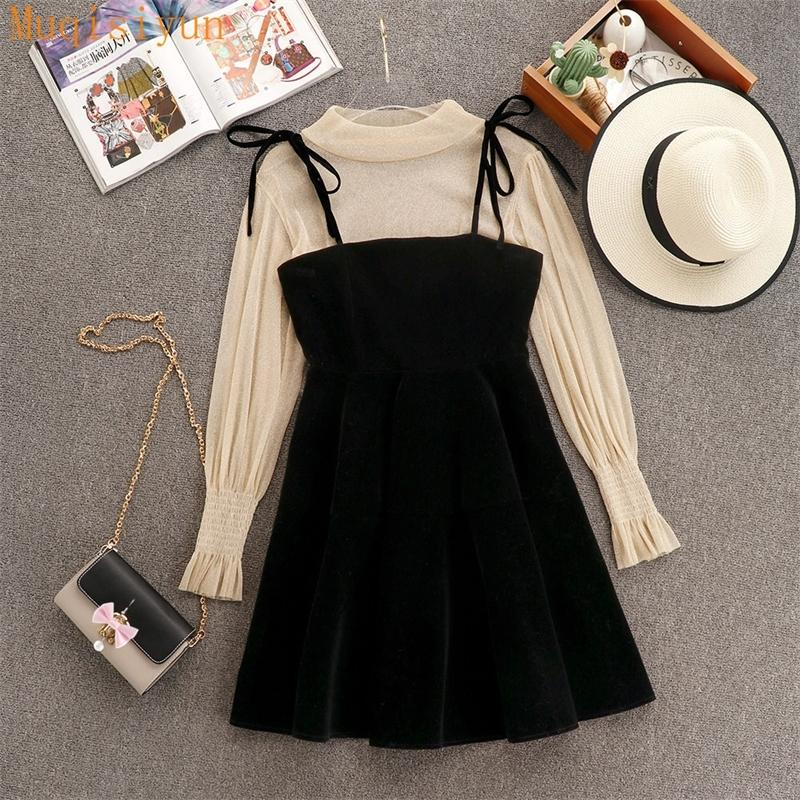 2021 Spring Elegant Women Transparent Lantern Long Sleeves Tops+ Dress Set 2pcs Suit Party Birthday Gift A485 210304