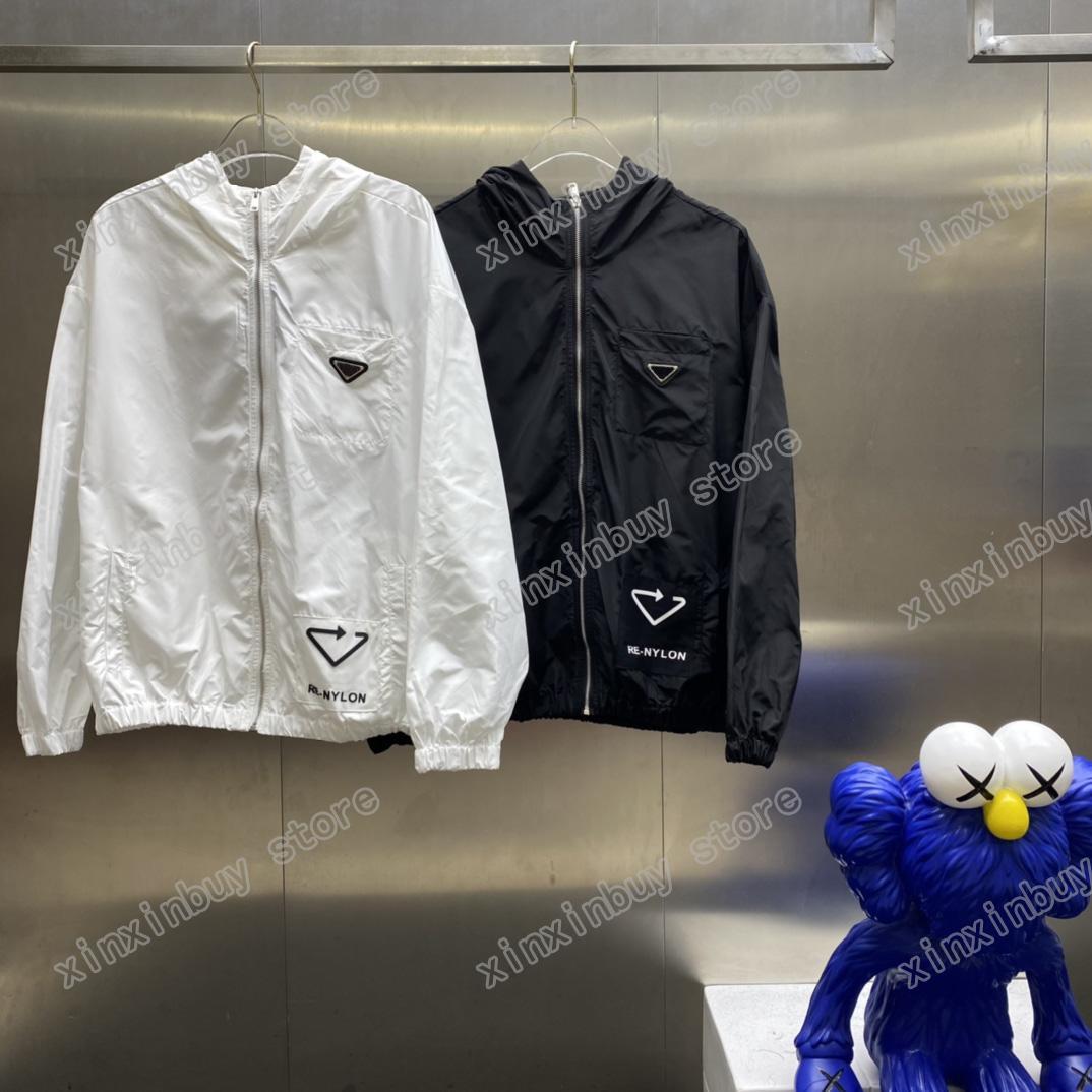 21SS Man Designer Giacche Giacche a vento Vestiti Pocket Taliangle Etichetta con cappuccio Felpa con cappuccio Mens Cappotti Capispalla Abbigliamento Uomo Abbigliamento Cotton Grigio Blu