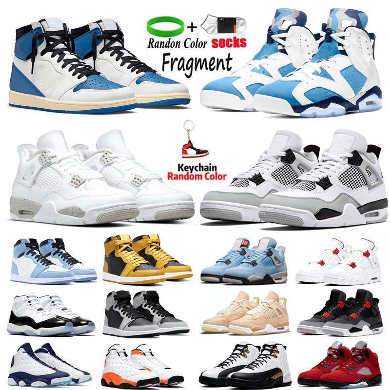 1s og fragmento jordan4s homens sapatos de basquete sneakers 4 branco oreo neon universidade azul 6s un Unc venda táxi jorden12s vermelho flint 13s reversos criadores de mensagens