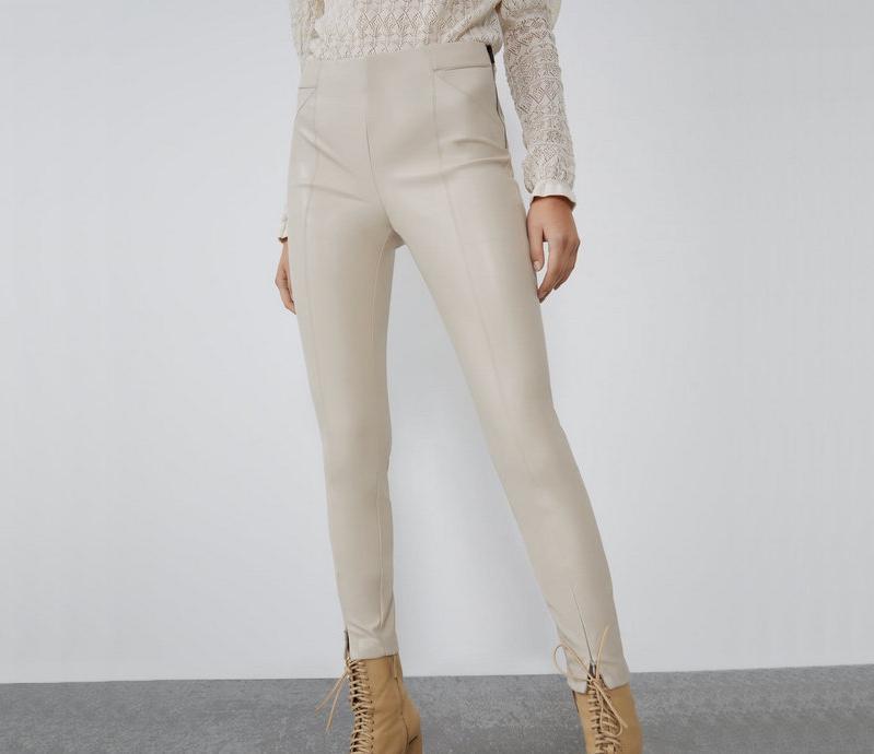 Calças femininas capris 2021 moda outono inverno mulheres faux calças de couro senhora preto bege velo plutom zíperes skinny trecho lápis