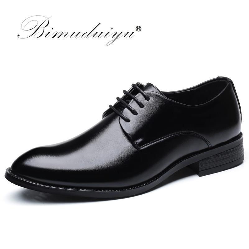Bimuduiyu Marka Klasik Adam Sivri Burun Elbise Ayakkabı Erkek Patent Deri Siyah Düğün Ayakkabı Oxford Örgün Ayakkabı Büyük Boy 210316