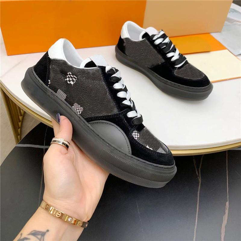 2021 Hommes Casual Chaussures Qualité Graffiti Appartements Sneakers Aquarelle Fleurs Entraîneurs Entraîneurs Gingham Plateforme Chaussure Chaussures Fashion Checker Hommes Sneaker avec Box 38-45