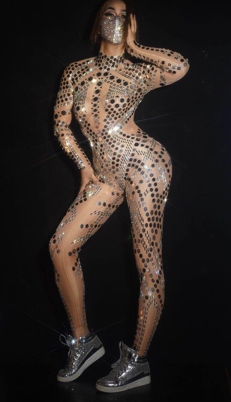 Серебряные блестки зеркала обнаженного комбинезона с длинным рукавом леди певица танцор ночной клуб бар наряд шоу спектакль leotard танец костюм