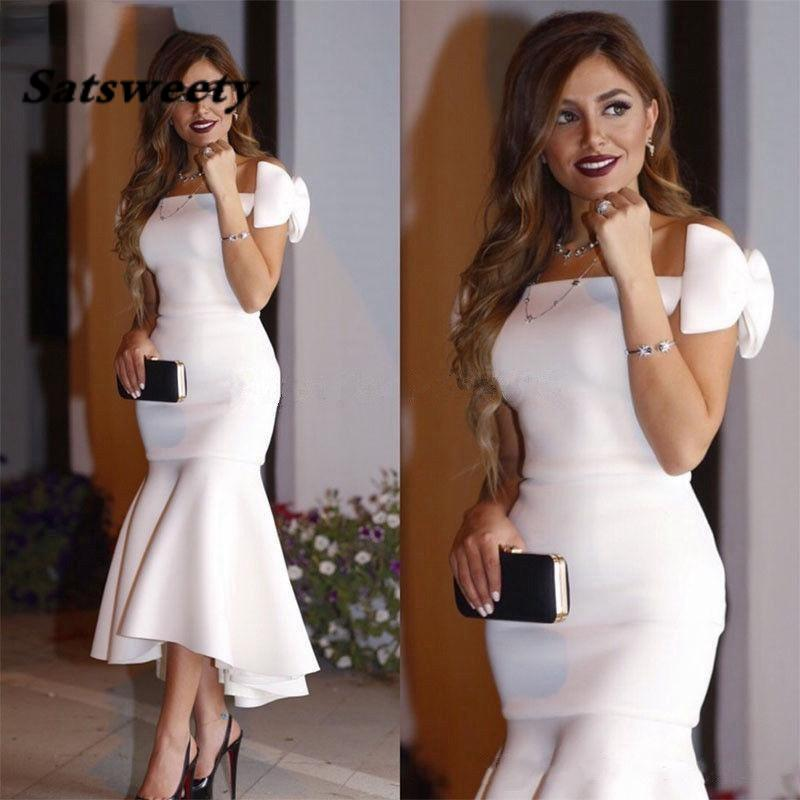 Arabric Short White Cocktail Dresses 2022 Off Shoulder Bow Mermaid Tea Length Modest Prom Party Evening Gowns Custom Made
