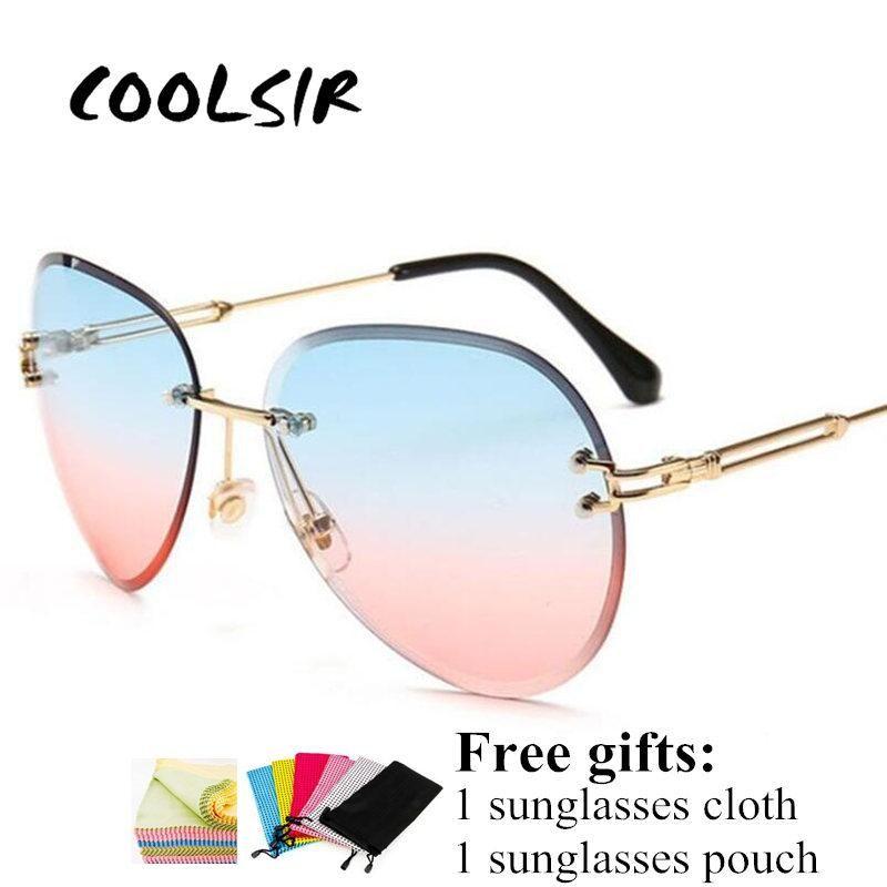Güneş Gözlüğü Coolsir Çerçevesiz Kadın Marka Tasarımcısı Güneş Gözlükleri Degrade Tonları Kesme Lens Bayanlar Çerçevesiz Metal Gözlük UV400