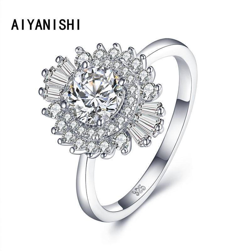 Aiyanishi 925 Anéis de prata esterlina para mulheres halo bonito zircão rodada geométrica 925 prata anel de casamento fino jóias minimalista presente