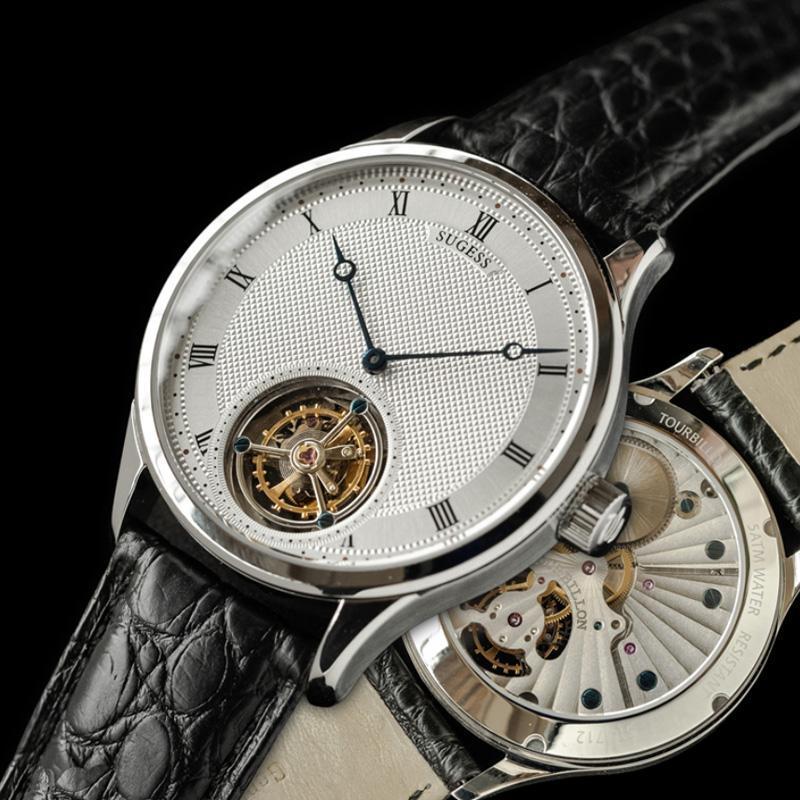 Armbanduhren tourbillon uhr bewegung seagull st8230 für männer luxus casual sugess saphir weiß arabisch zahlen concus de paris zifferblatt
