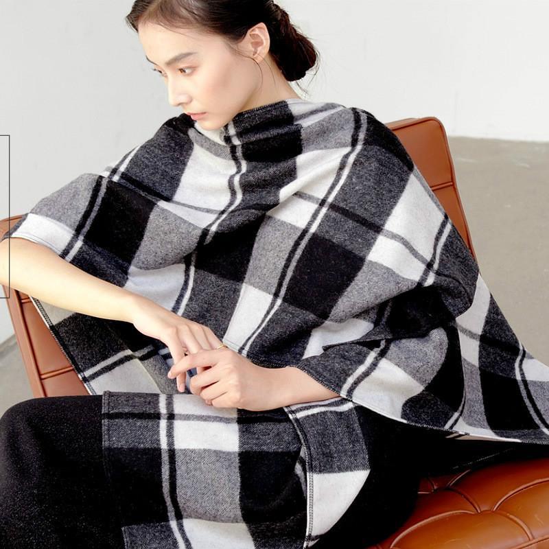 Moda inverno inverno Ponchos a plaid e mantelli per le donne Scialli sovradimensionati involucri in lana femmina BUFANDA MUJER Sciarpe