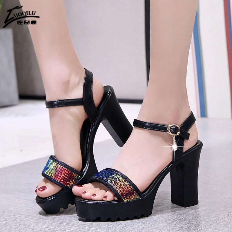 Bloco Saltos Femininos Plataforma Sandálias Mulheres Sandálias Verão Novo 2021 Aberto Toe Glitter Bombas Mulheres Sapatos Plataforma Alto Salto Alto