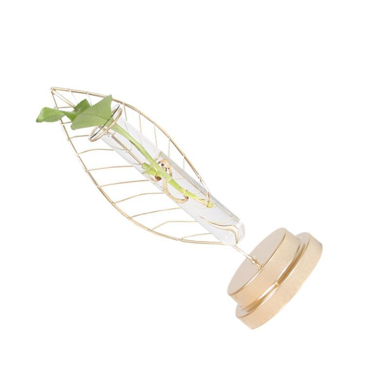 Creative Planter Tube Vidro Container Folha em forma de 1PC Arranjo de Flores Art Vaso Elegante Teste de Ferro de Teste de Vidro (com Vaso LQLoo