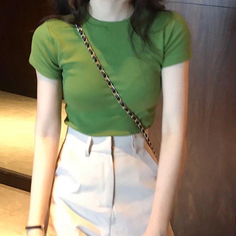 Solid Color Short Sleeve T-shirt Female Summer 2021 New Korean Self-cultivation Students Joker Half Sleeve Short Jacket Bottoming Shirt