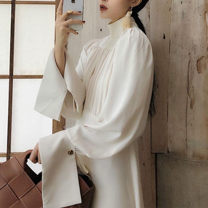 Beyaz Zarif Elbise Kadın Sonbahar Turtlneck Vintage Retro Elbise Kadın Rahat Kore Tek Parça Elbise Güz Kadın Giyim 210303