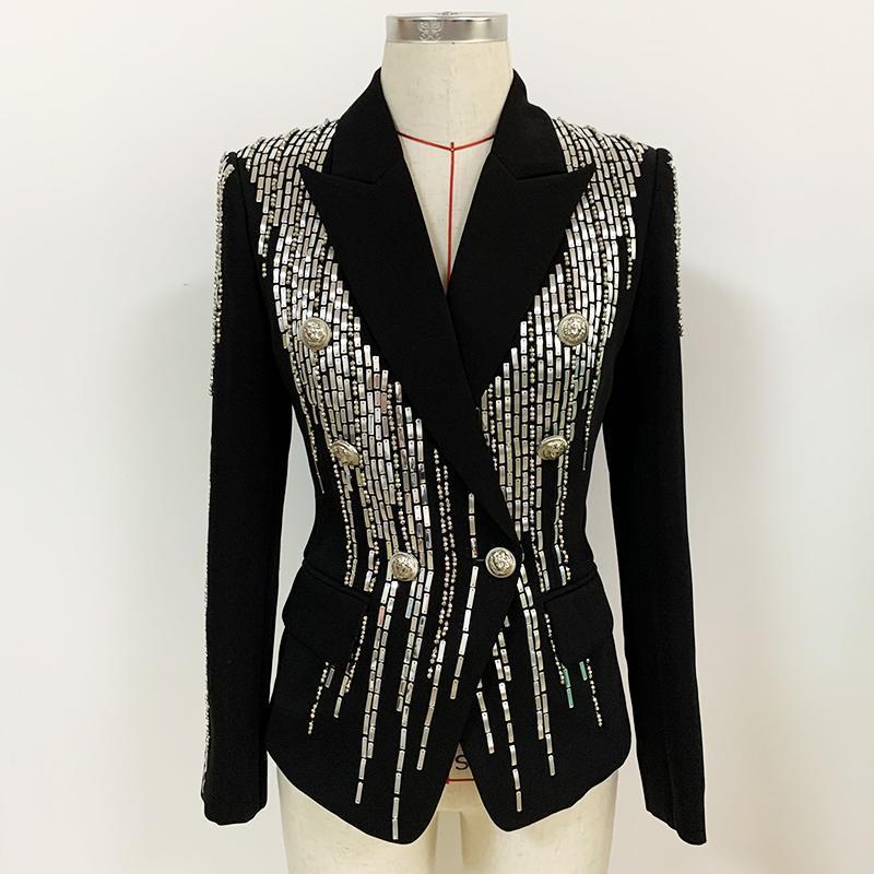 Abiti da donna Blazer di alta qualità 2021 moda slim fitting doppio petto lussuoso splendido blazer metallico in rilievo blazer all'ingrosso