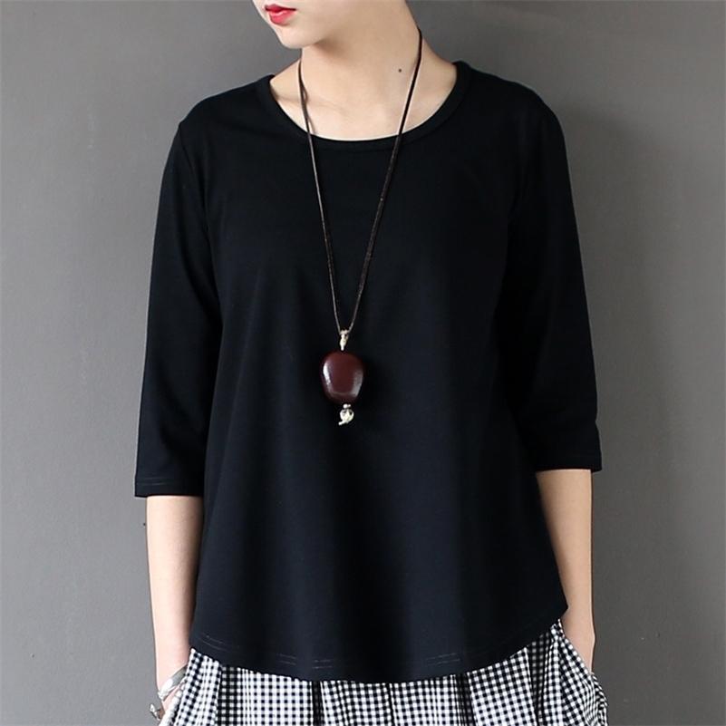 Johnature Kadınlar Pamuk T-Shirt Siyah Beyaz Yaz Yeni Yarım Kollu O-Boyun Bir Boyutu Rahat Örme Moda Tops 210315