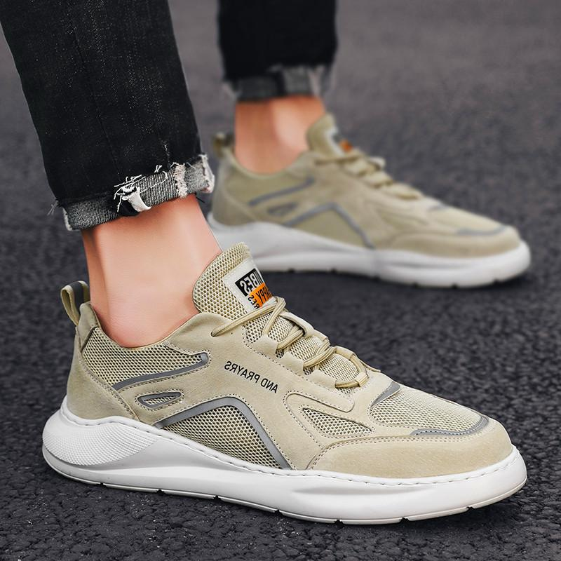 Adult mesh mens sneakers casual shoes lace-up mens shoes light and comfortable breathable walking Leather breathable mesh shoes
