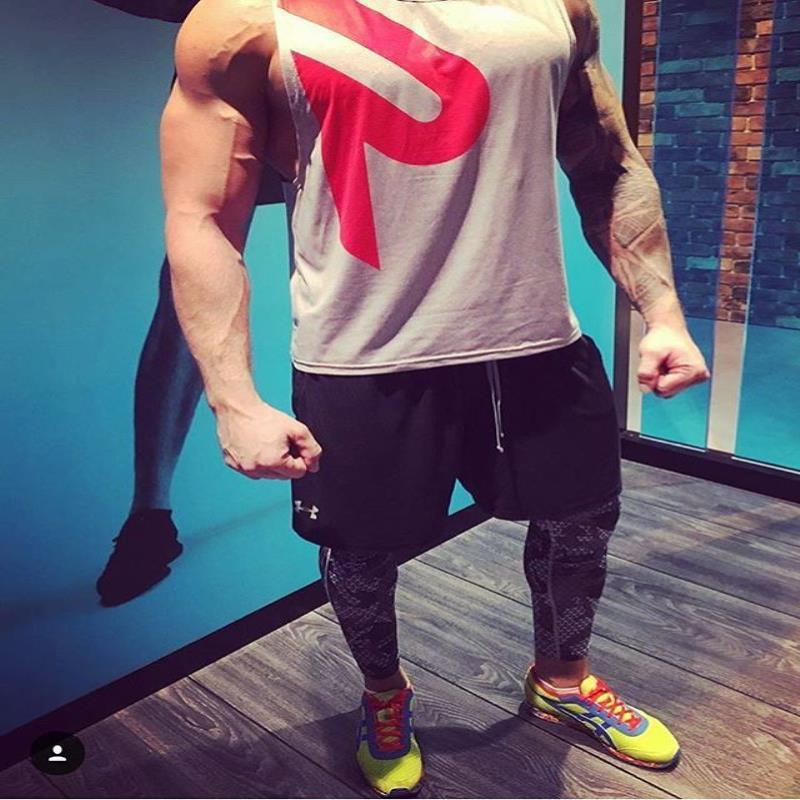Tee T-Shirt Giyim erkek Gri Kas Erkek Siyah Gym Kolsuz Spor Tankı Tops Vücut Geliştirme Gömlek 2021 Tasarımcı Spor Yelek Toptan LXWL