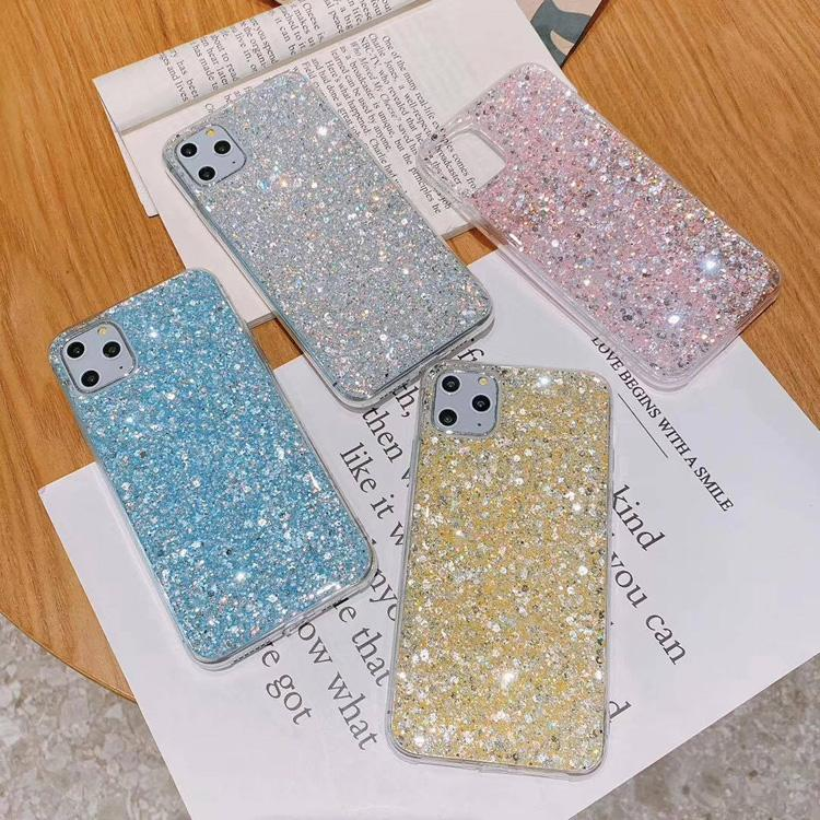 For iPhone Cases 11 12 MAX PRO MiniTPU Gel Material Protective Skin Phone Case Glitter Shockproof Shell Bling Pattern Cover