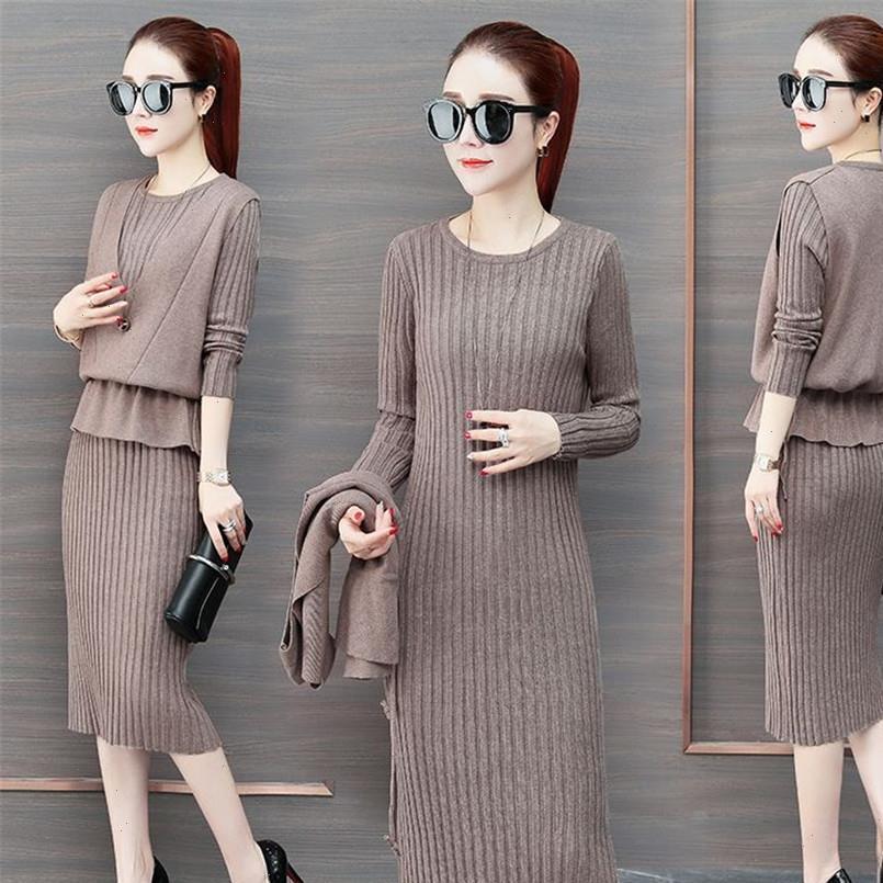 2021 autunno inverno nuove donne cardigan bretelle gilet maglione vestito abito vestito solido manica lunga alta qualità a maniche lunghe a maglia due pezzi