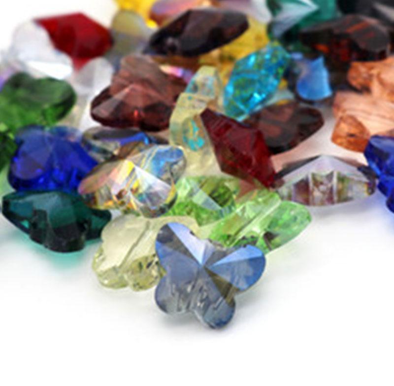 Colore misto all'ingrosso 100pcs colorato farfalla a farfalla cristallo tallone 11x14mm perline di vetro perline sciolte gioielli fai da te fai da te creazione dell'Austria