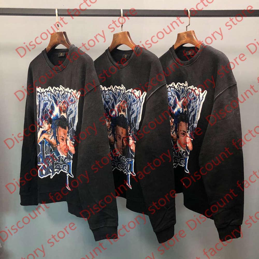 2021SSS Hiphop Top Black Color XL Sudadera Sudaderas Sudaderas Sudaderas Hombres Mujeres 1 Top Calidad Sudadera con capucha suelta