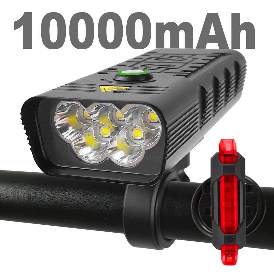 10000mAh دراجة ضوء usb قابلة للشحن 3000 شمعة الدراجة المصباح 5T6 الصمام سوبر مشرق مضيا أضواء الجبهة والضوء الخلفي