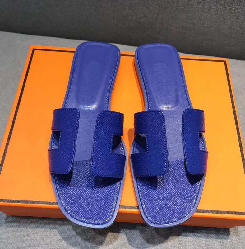 Clássicos Moda Mulheres Sangres Sandálias Slides Summer Sexy Real Plataforma de Couro Flats Sapatos Senhoras Chinelos de Praia Home011 12
