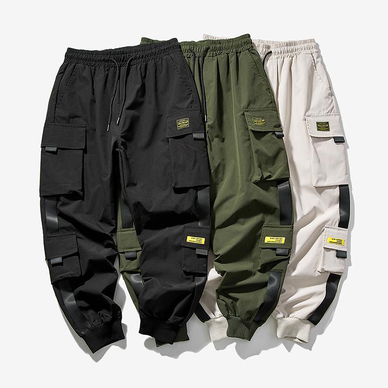 Hip Hop Harem Jogger Cargo Hosen für Männer mit Multi-Taschen Bänder Bänder MAN Sweatpants Streetwear Casual Mens S-5XL