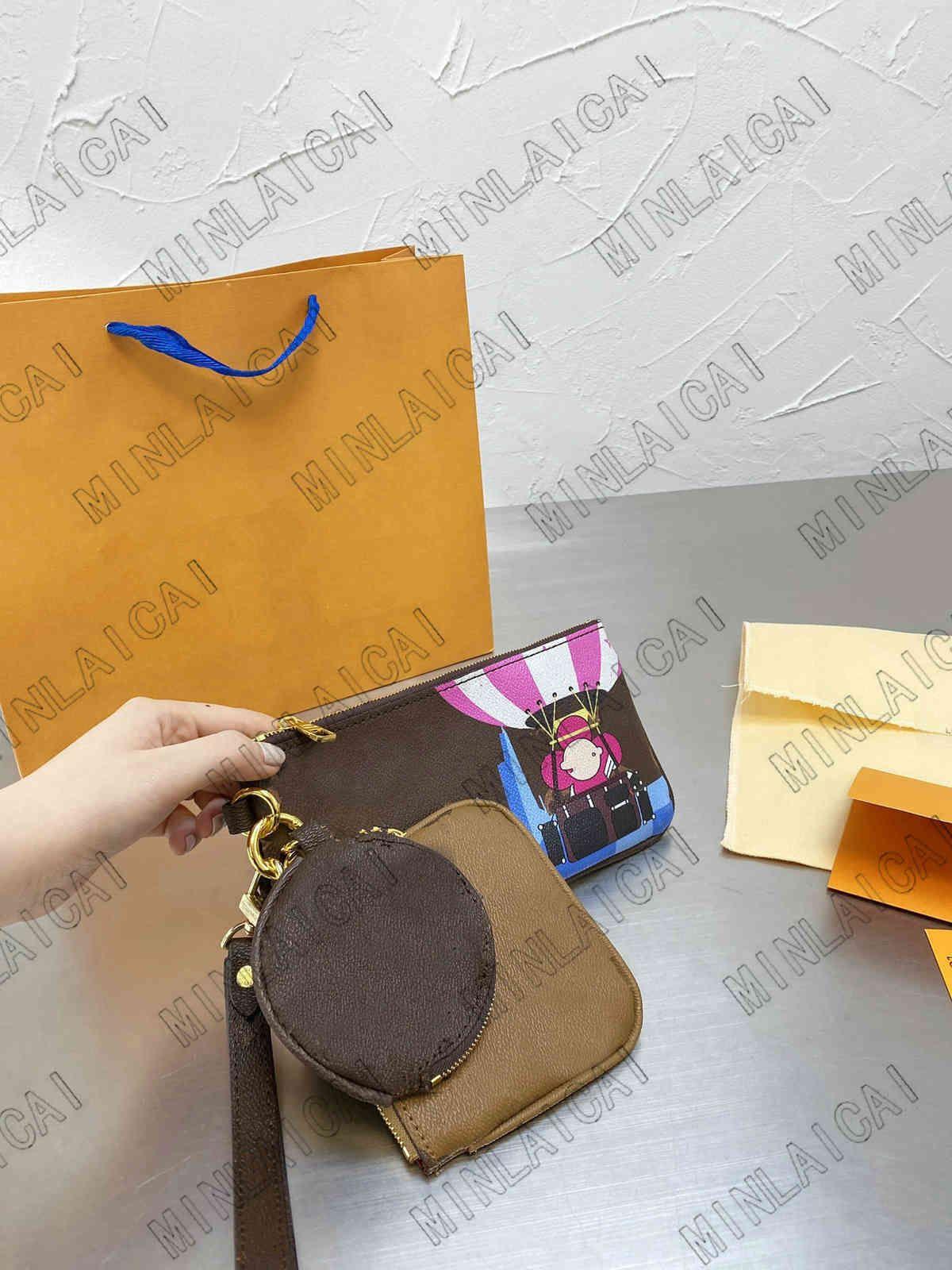 حقيبة يد مصمم حقائب يد نسائية مصممي أكياس مصممي 2021 عالية الجودة حقيبة كروسبودي Zhouzhoubao123 محفظة محفظة M80407 Trio Pouch 3 Piec 3 Piec