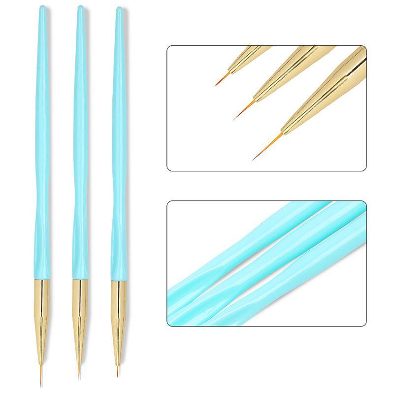 3 ADET Nail Art Liner Şeker Mavi Fırçalar Kalemler 0.6-1.1 cm Boyutları Çiçek Boyalı Çizim Hatları Manikür Araçları Nail Art İpuçları Set