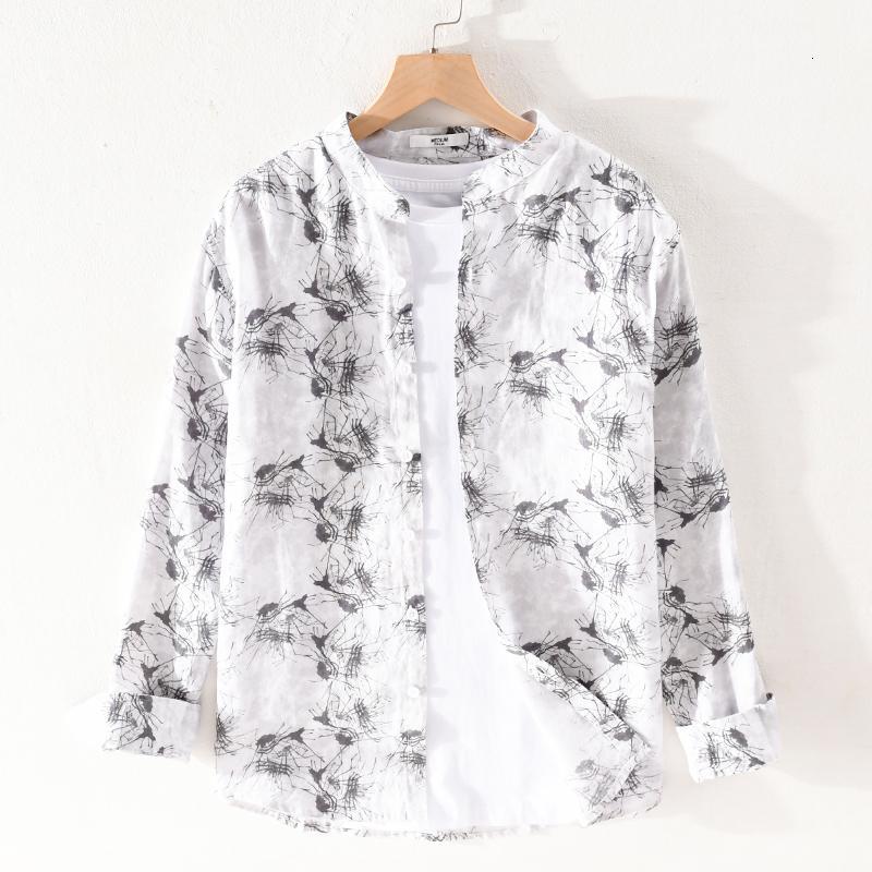 2021 Новый воротник с длинными рукавами лето белое чистое белье для мужчин причинно-следственная итальянская рубашка рубашка мужская бренд удобные рубашки мужские UPR1