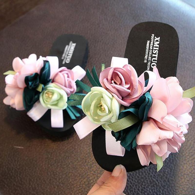 Sommer neue rutschfeste Kinder Flip-Flops Mädchen Mode Strand Schuhe Elternkind Sandalen Weibliche Blumen Hausschuhe Frauen tragen S492