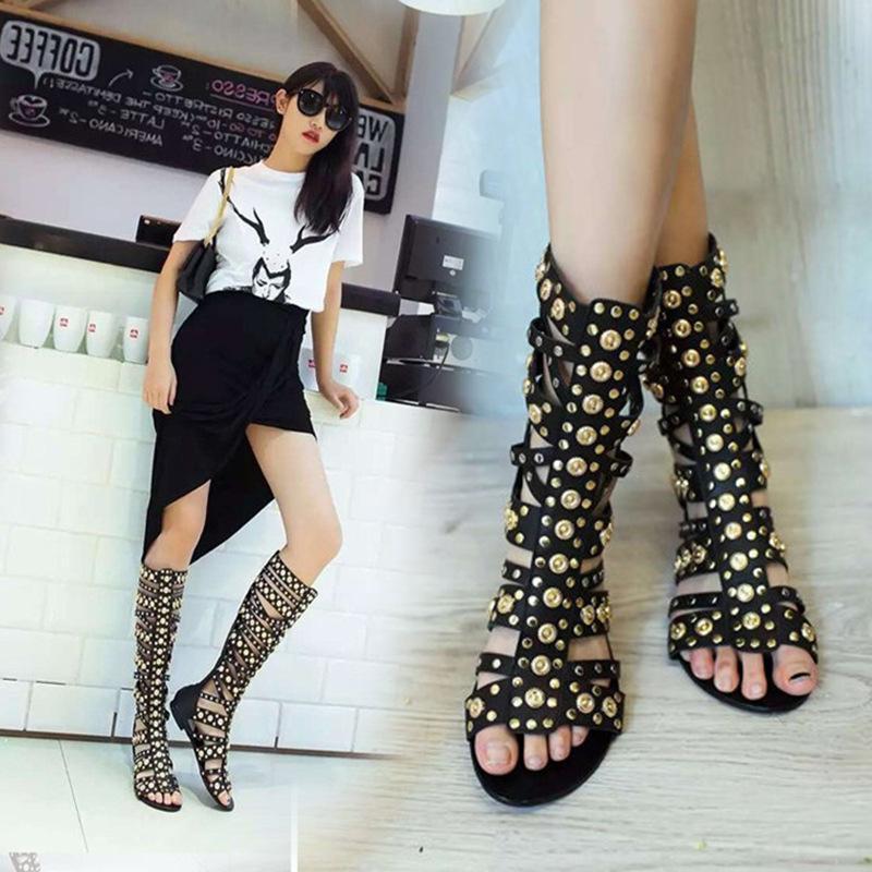 Bottes de poissons de poisson creux de gros Rome Bottes Bottes Femme 2021 Taille Chaussures Femme