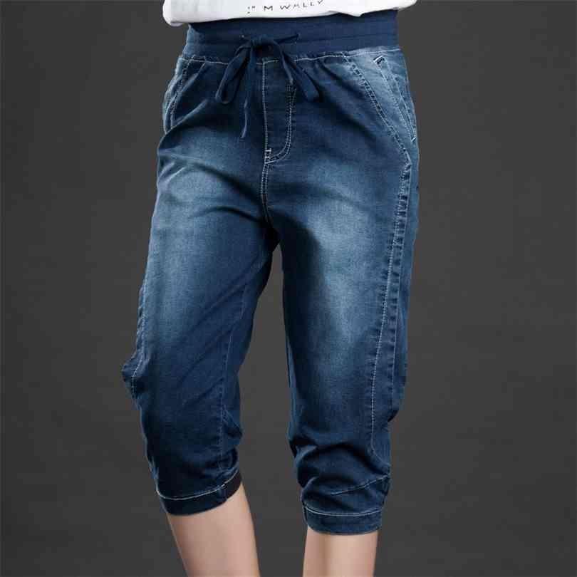 Calças de calça jeans de cintura alta Stretch Stretch Verão Denim Calças Calças Plus Tamanho 5XL para Mulheres Harem Curto Feminino C4553 210924