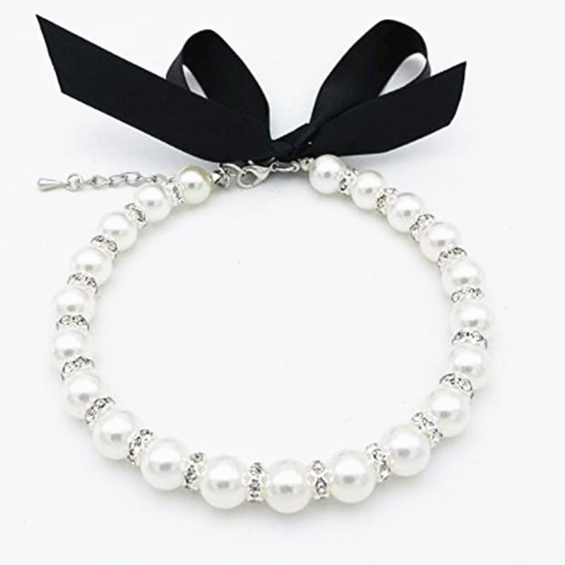 Vestuário de cão Pearls Pearls Colar Collar Jóias Bling Strass Cachorrinho Cat Acessórios Para Casamento Para Cães Femininos Cats Pets